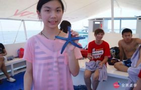 《English Fella 語言學校》週末活動,Nalusuan Island 跳島浮潛,抓到一隻「海星」!