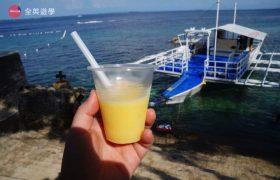 《English Fella 語言學校》週末活動,Nalusuan Island 跳島行程結束,每人一杯芒果冰沙,消暑一下!