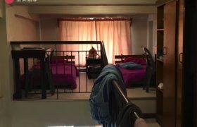 《Baguio JIC 語言學校》學生宿舍四人房,床鋪在樓上,樓下有廚房&衛浴喔!