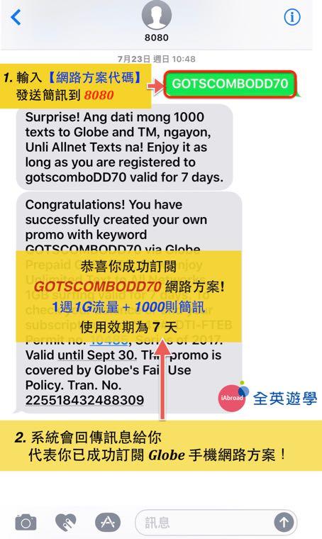 ▲ 小編選擇的是【1週1G流量+1000則簡訊】的方案,簡訊輸入【GOTSCOMBODD70】發送至8080後,系統就會回傳簡訊到我手機,代表網路方案訂購完成!