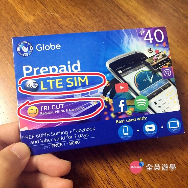 """▲ 菲律賓 Globe 電信的手機門號 SIM 卡(每張菲幣 40 ,約台幣NT$28)。封面上有 """"LTE SIM"""",就是有支援4G上網的意思。""""TRI-CUT"""" 意思是有三種不同大小,支援「各種手機的SIM卡尺寸。"""