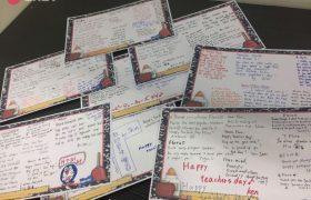 《First English 語言學校》教師節活動,學生寫下滿滿的感謝卡給老師!