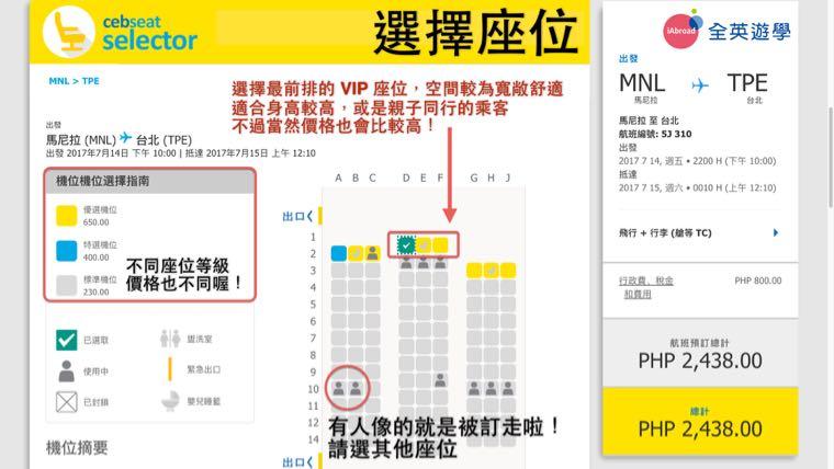 ▲ 座位等級不同價格也不一樣,選擇你喜歡的座位,有人像的就是已經被其他乘客選走囉!