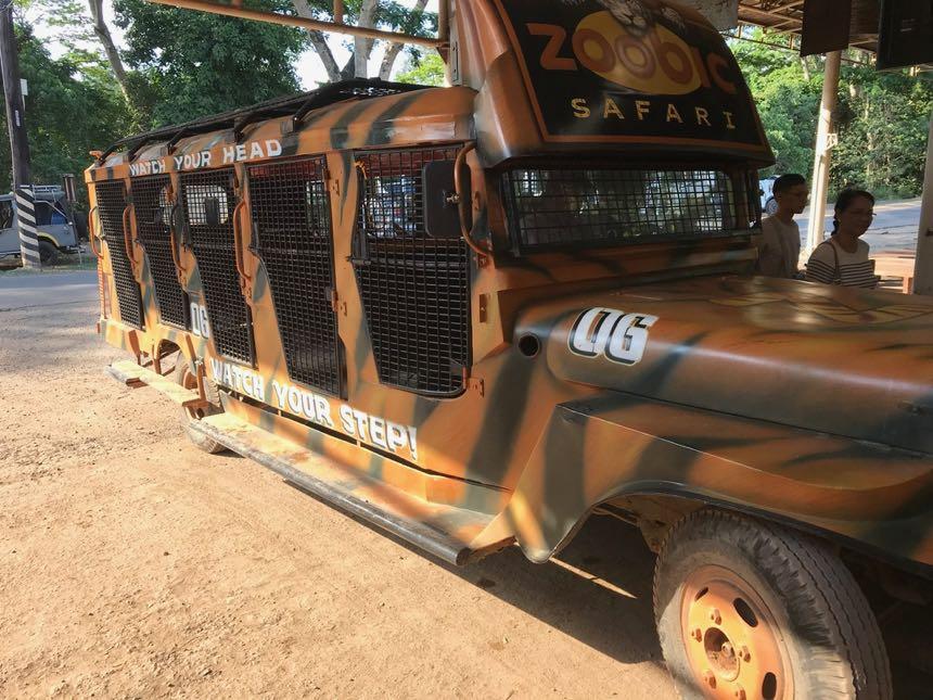 ▲ 這是蘇比克野生動物園 (Zoobic Safari),距離克拉克大約1~1.5小時左右。搭乘他們特製的鏤空加長吉卜車,可以近距離看到野生老虎!