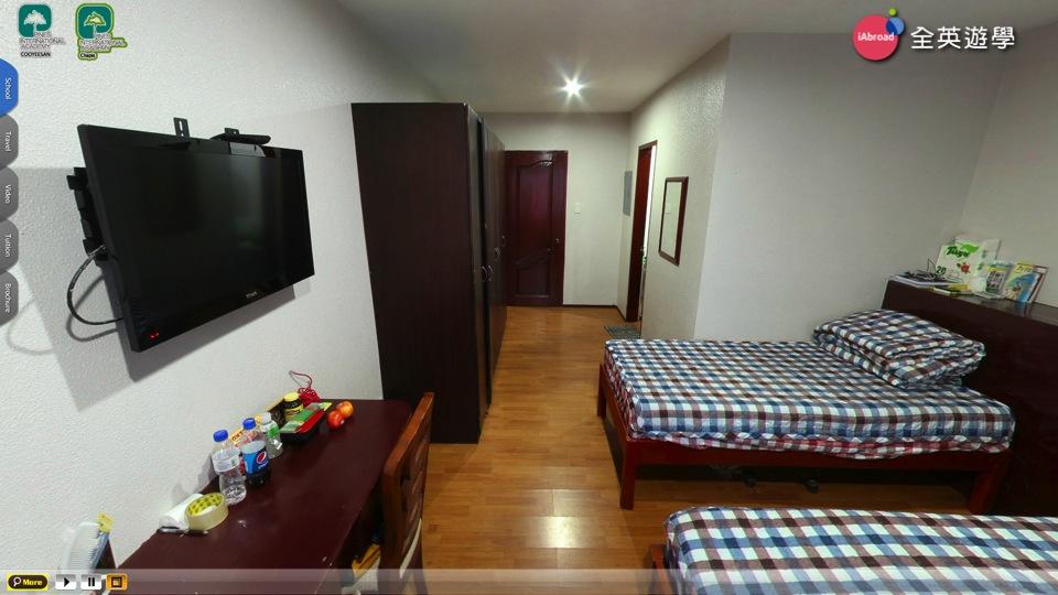 《PINES 語言學校》Chapis三人房 (床鋪、桌椅、電視、衣櫥、獨立衛浴)