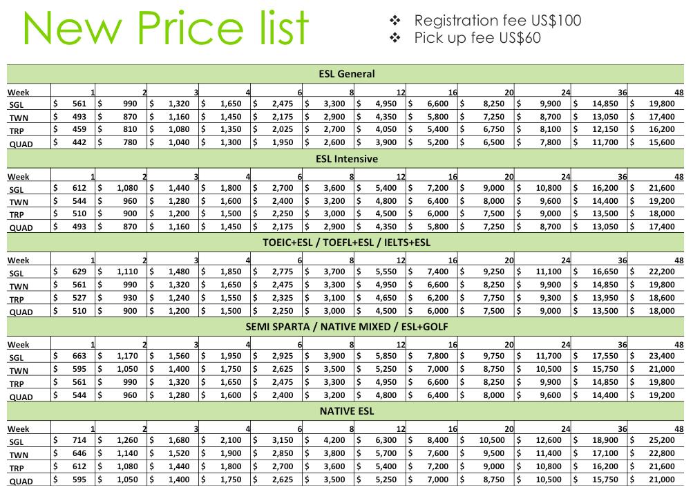 EG 學費&住宿費用表 (截圖) 141207