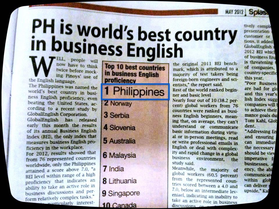 Newspaper_菲律賓是全球商業英文程度第一名