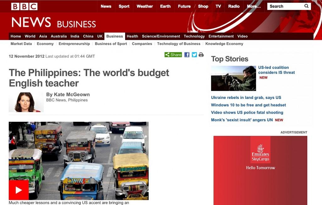 BBC 專題報導,菲律賓遊學是下一波英文學習新趨勢。是全球最物超所值的英文學習中心。