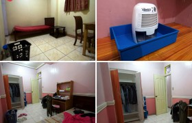 《TALK 語言學校》(E&E 校區) 單人房,每間都有床舖、個人衣櫃、桌椅、小型除濕機