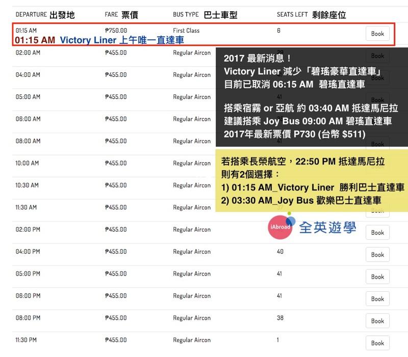 2017年最新!Victory Liner 碧瑤勝利巴士,最新時刻表&線上訂票教學