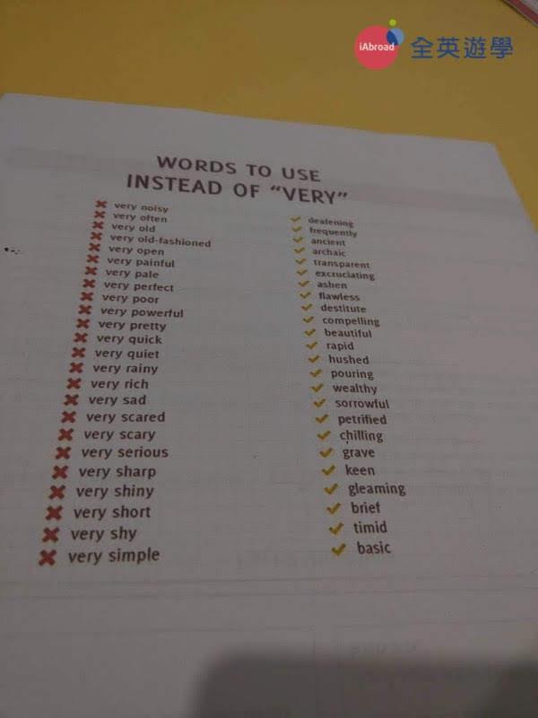 ▲ 進入雅思之後,老師會要求你不要在使用最基本的單字,要多嘗試一些不同的、更進階的英文單字用法,這張就是老師發的補充講義,很實用!