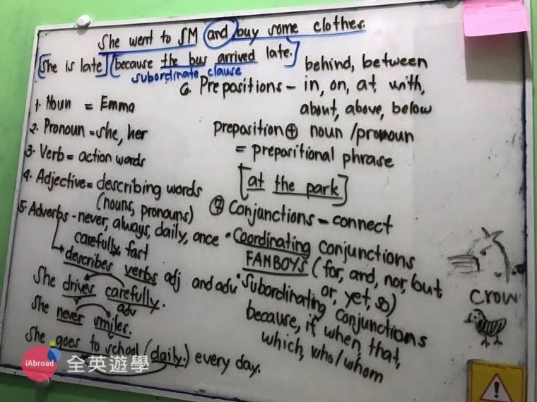 ▲ 單字量不夠的話,就沒辦法理解文法或運用更多的句型,因此,我會特別整理「文法課」&「單字課」的筆記。例如:我會把老師白板上寫的例句拍下來,然後再用我的方式去寫,整理完之後隔天帶去讓老師看,「透過造句來多背單字」才能更知道單字最正確的用法。