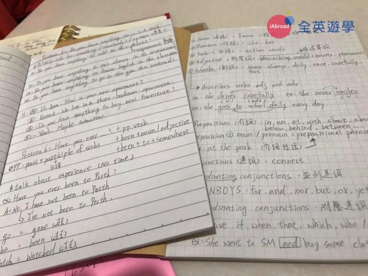 ▲ 實用句型 (Pattern) 課程我也會這麼做,因為我真的覺得 Pattern 很實用,整理完筆記後若有多的時間,我都會留給 Pattern。我會先寫好隔天要教的例句,讓老師看,然後課堂上老師還會再叫我造一個新的句子,等於我就練習了兩次。